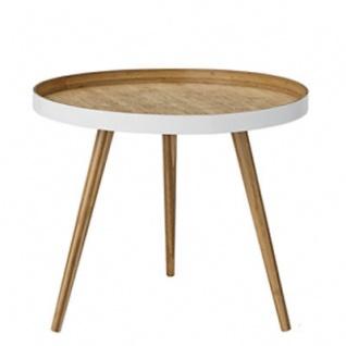 Bloomingville Beistelltisch Weiss Bambus Holz Tisch Kaffeetisch 60