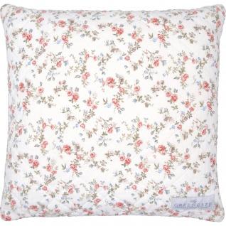 Greengate Kissen CARLY 40x40 Weiß Blau Blumen Kissenhülle Kissenbezug Baumwolle
