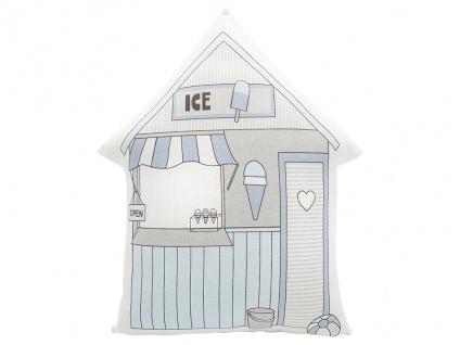 Greengate Kissen ELLISON Weiß / Blau 30x40 mit Füllung Haus Form Motiv ICE Laden