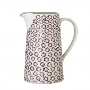 Bloomingville Krug MAYA Keramik Kanne 1.75 Liter Geschirr Blumen Design Rot