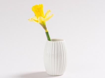 Vase SILDA Weiß Porzellan 9.5 cm Blumenvase Streifen Design Deko