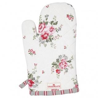 Greengate Ofenhandschuh ELOUISE Weiß Rot Blumen Grill Handschuh BBQ Handschuh