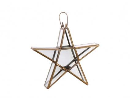 Chic Antique Stern für Teelicht 28 cm Kerzenhalter Glas Metall Kerzenständer