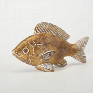 Deko FISCH Aufsteller JAN Gold Maritime Deko Objekt Fische Angler Geschenk 16 cm