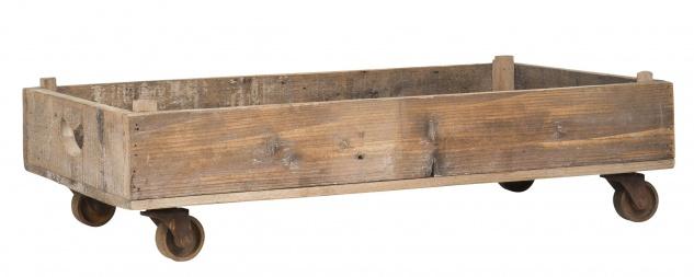 IB Laursen Tablett auf Rädern 39x66 cm Holz Kiste Rollen Tisch Vintage Deko Box