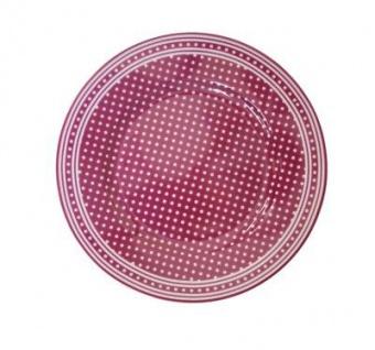 Krasilnikoff Kuchenteller Punkte Pflaume Teller weiß gepunktet Porzellan