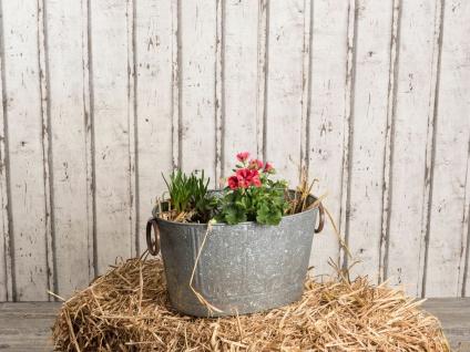 Pflanzen Wanne MAJA 40 cm Zink Optik Vintage Design Metall Pflanztopf Blumentopf