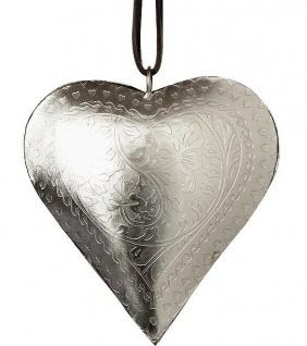 Deko HERZ Hänger LANA 11 cm silber Metall Hochzeitsdeko Muttertag Geschenk