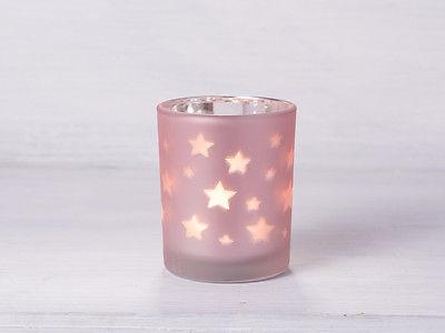 Windlicht Sterne pink Teelichthalter rosa matt mit Sternen Teelicht Glas