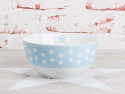 Krasilnikoff Schale Happy Bowl PUNKTE Hellblau weiß blau gepunktet Müslischale