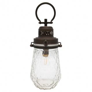 Greengate Lampe CHECK mit Henkel Hängelampe Batteriebetrieb 15x33 cm Metall/Glas