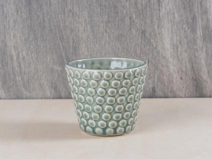 Bloomingville Votive Kerzenhalter Punkte grün grau Teelichthalter Keramik 6.5 cm