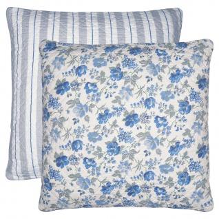 Greengate Kissen DONNA Blau 50x50 Kissenhülle Kissenbezug mit Blumen Baumwolle