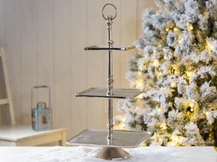 Etagere HELENA 50 cm Eckig Metall Silber 3 Etagen Tischdeko Hochzeitsdeko