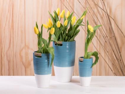 Vase ELLA blau weiß 17 cm Keramik Blumenvase Skandinavische Deko - Vorschau 2