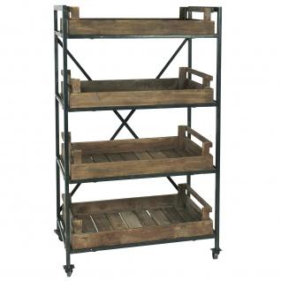 IB Laursen Display REGAL auf Rädern mit 4 Holz Kisten Tabletts H 145 cm