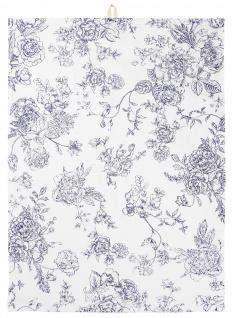IB Laursen Geschirrtuch Blumen Blau Baumwolle Geschirrhandtuch 50x70 Küchentuch