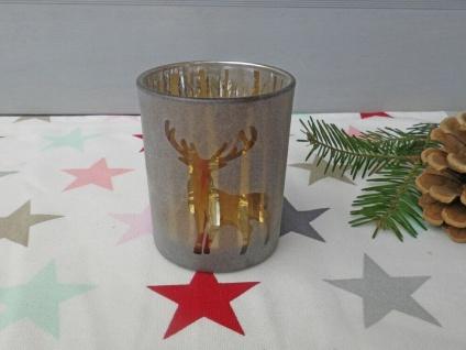 Windlicht WALDESRUH Braun Glas 8 cm HIRSCH Weihnachtsdeko Weihnachten Teelicht