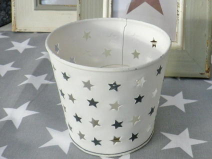 Windlicht MARY Weiß Metal Sterne Grau ausgestanzt Stern 12.5 cm Weihnachtsdeko