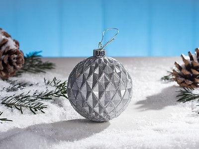 Weihnachtskugel Mette grau Christbaum Kugel silber Glitzer Tannenbaumkugel
