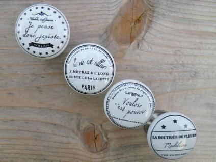 Möbelgriff FRANCE 4er Möbelknopf Porzellan weiß französisch Sprüche Frankreich