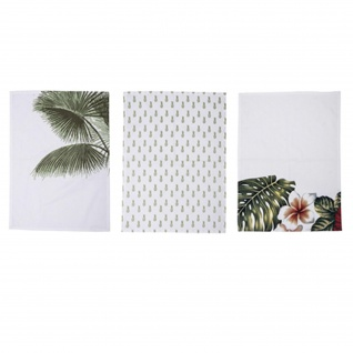 Bloomingville Geschirrtücher ARUBA 3er Set mit Palmen Palmenblätter Geschirrtuch