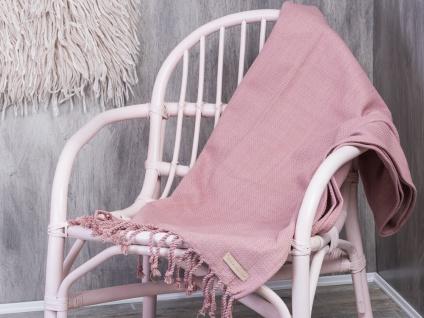 Bloomingville Decke rosa Baumwolle Wolldecke Fransen 130x17 Throw Kuscheldecke