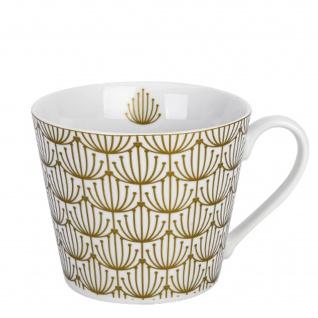 Krasilnikoff Happy Cup Becher BLOSSOM Gold Tasse 300 ml Porzellan Geschirr