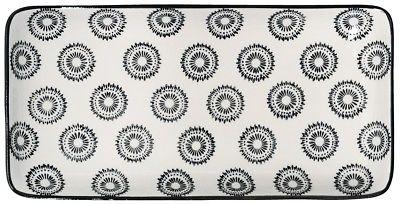 IB Laursen Tablett Teller Casablanca schwarz weiß Blumen Geschirr Keramik eckig