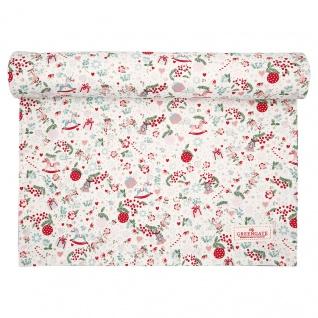 Greengate Tischläufer CAROL Weiß Rot Weihnachten Baumwolle 45x140 cm Tischdecke