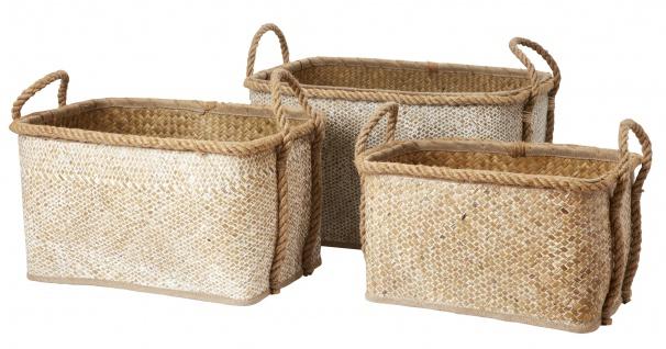 Affari Korb Set MINNAH Seegras weiß 3er Set 44 - 55 cm Wäschekorb Aufbewahrung