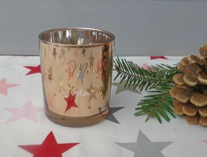 Windlicht Glas KUPFER Merry Christmas 8 cm STERNE Weihnachtsdeko Teelichtglas