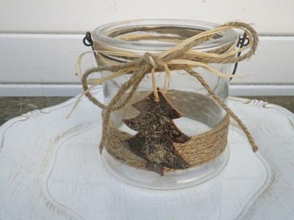 Windlicht AMELIE Glas mit Henkel 13 cm TANNENBAUM Weihnachtsdeko Kerzenhalter