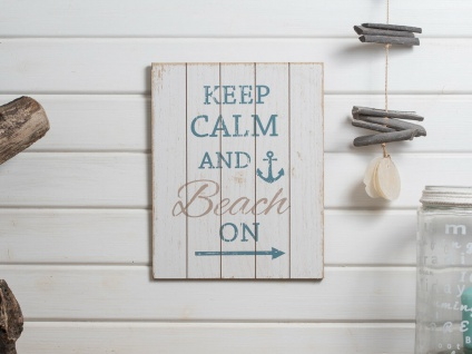 Schild BEACH Holzschild KEEP CALM - BEACH ON Deko Maritim Weiß Wandbild 27x34