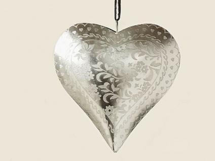 Deko Herz Hänger VERENA 18 cm silber Metall Hochzeitsdeko Muttertag Geschenk