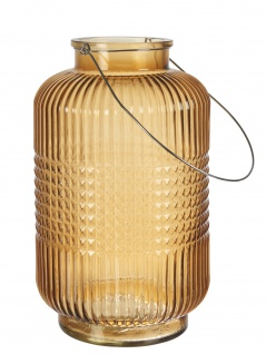 Affari Windlicht Laterne ANJA Orange 38cm Glas Deko Gartenlaterne Tischdeko Vase