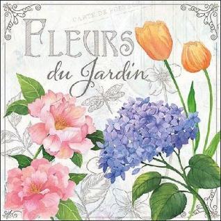 Ambiente Servietten FLEURS DU JARDIN weiß grau Blumen bunt Garten 20 Stück 33x33