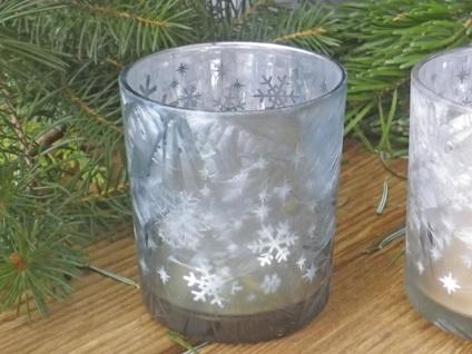 Windlicht EMILIE Aqua Türkis Schneekristal 8 cm Weihnachtsdeko Teelicht Glas