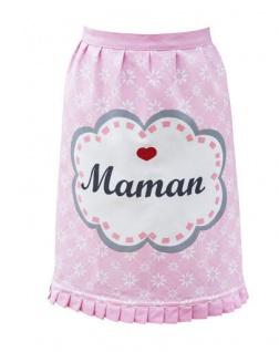 Krasilnikoff Küchenschürze MAMAN Rosa Pink Blumen Weiß Herz Rot Mama Kochschürze
