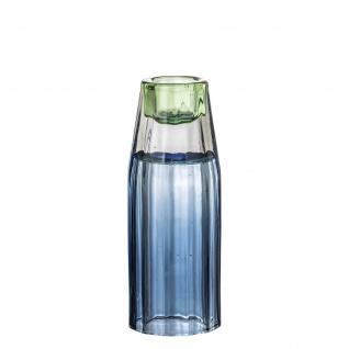 Bloomingville Kerzenhalter / Vase Glas Blau Kerzenständer Blumenvase 12 cm hoch