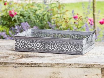 Deko Tablett MARTHA Zink Grau 22x33 cm Gartendeko Blumen Muster Metall Griffe