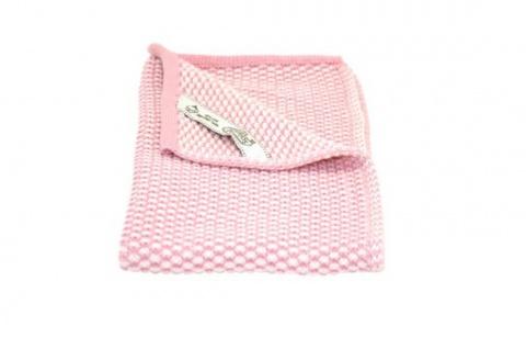Solwang Gästehandtuch Natur / Rosa gestrickt Handtuch Bio Baumwolle 32x47