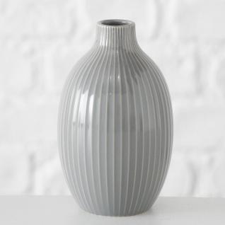 Vase HILDE Grau Keramik Blumenvase 18 cm groß Deko Design Klassik Tischdeko