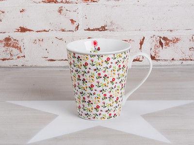 Krasilnikoff Happy Mug Henkel Becher Blume MILLE FLEURS Weiß Blumen bunt