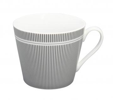 Krasilnikoff Tasse Happy Cup STREIFEN Grau Porzellan Weiß Nadelstreifen Becher