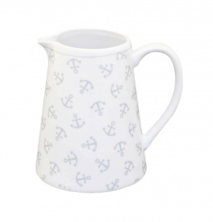 Krasilnikoff Milchkännchen ANKER Porzellan weiß mit Ankern Sahnekännchen Maritim