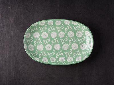 IB Laursen Teller LIVA oval grün weiß Blumen Geschirr Kuchenteller Obstschale Un