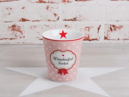 Krasilnikoff Happy Mug Becher WONDERFUL SISTER Rosa pink Herzen weiß Stern rot