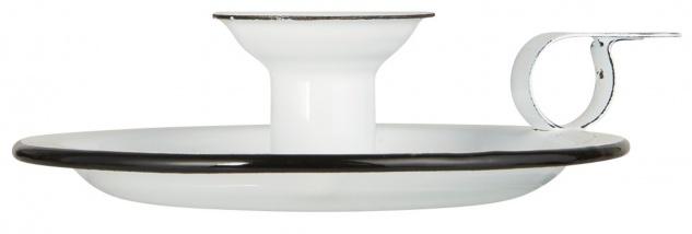 IB Laursen Kerzenhalter KAMMERLEUCHTE Emaille Weiß Kerzenständer für 1 Stabkerze