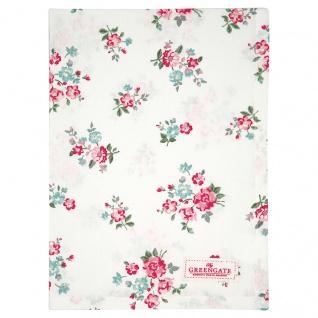 Greengate Geschirrtuch SONIA Weiß mit Blumen Baumwolle 50x70 cm Küchentuch